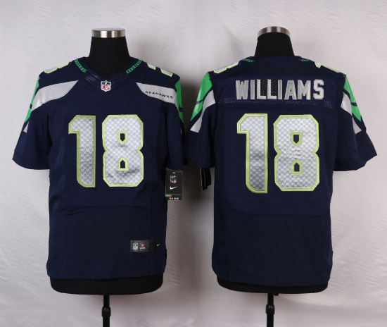 Seattle Seahawks 18 Williams Blue Men Nike Elite Jerseys