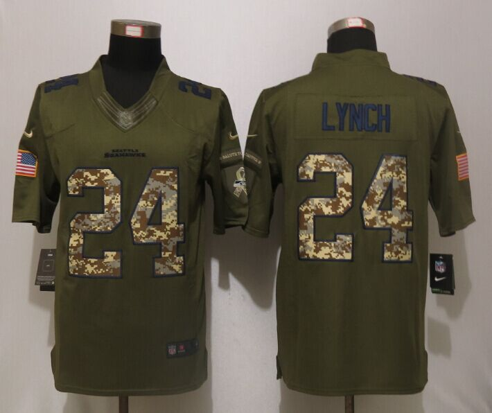 Seattle Seahawks 24 Lynch Green Salute To Service New Nike Limited Jersey.