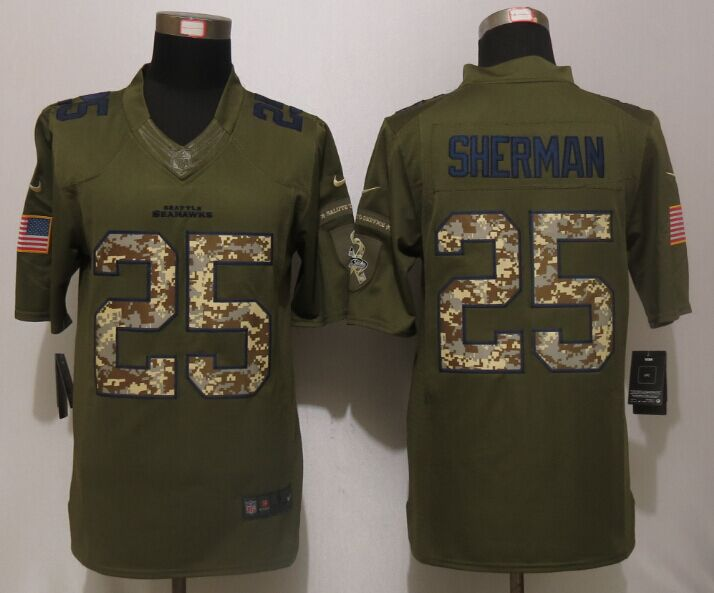 Seattle Seahawks 25 Sherman Green Salute To Service New Nike Limited Jersey