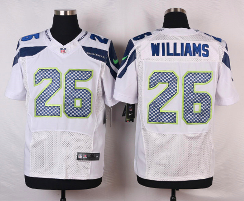 NFL Customize Seattle Seahawks 26 Williams White Men Nike Elite Jerseys