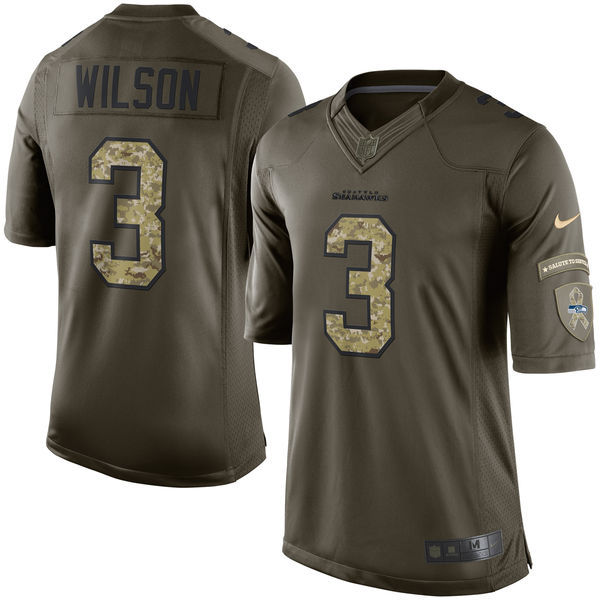 Seattle Seahawks 3 Wilson Army green 2015 Nike Salute To Service
