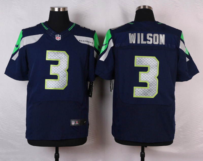 NFL Customize Seattle Seahawks 3 Wilson Blue Men Nike Elite Jerseys