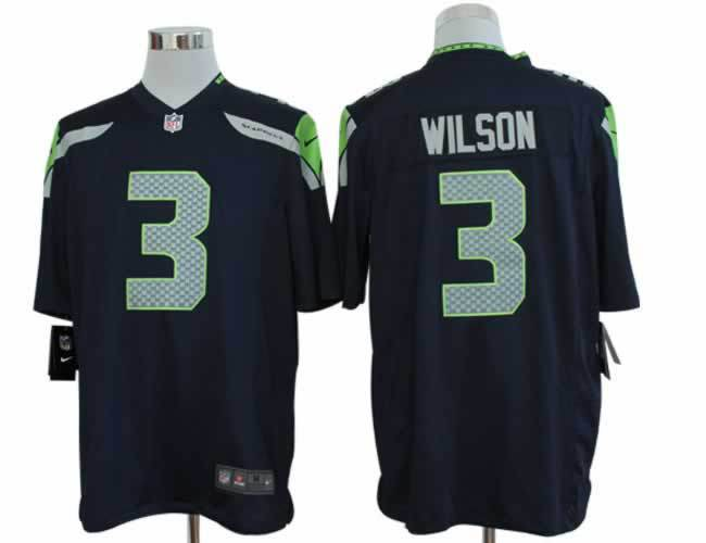 Seattle Seahawks 3 Wilson Blue Nike Game Jerseys