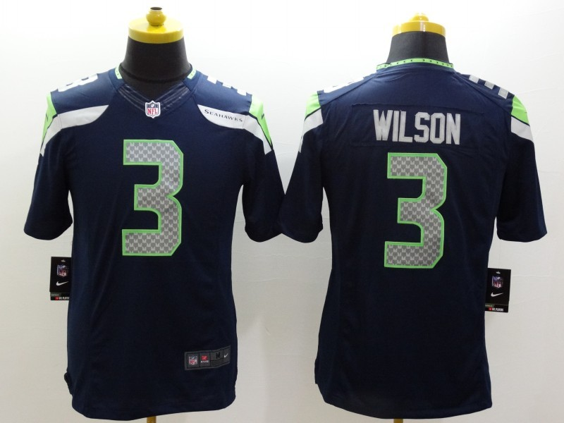 Seattle Seahawks 3 Wilson Blue Nike Limited Jerseys