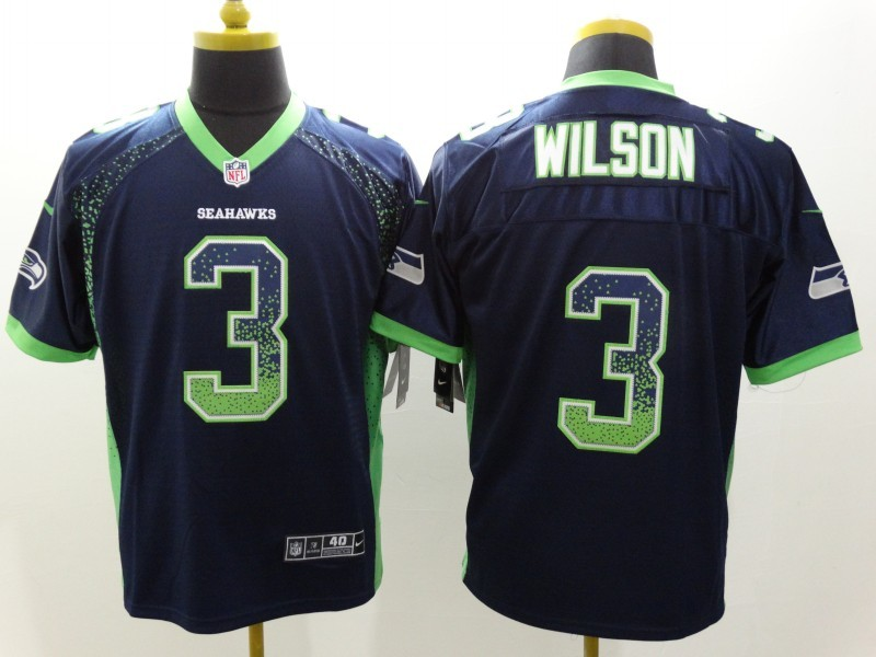 Seattle Seahawks 3 Wilson Drift Fashion Blue Nike Elite Jerseys