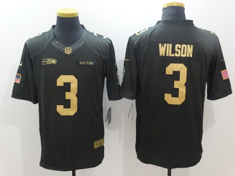Seattle Seahawks 3 Wilson Green Nike 2016 christmas gold edition jersey
