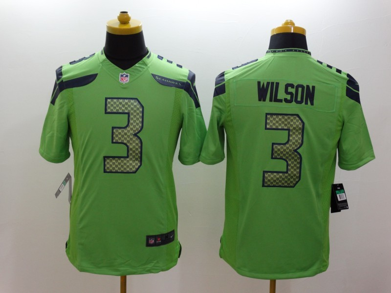 Seattle Seahawks 3 Wilson Green Nike Limited Jerseys