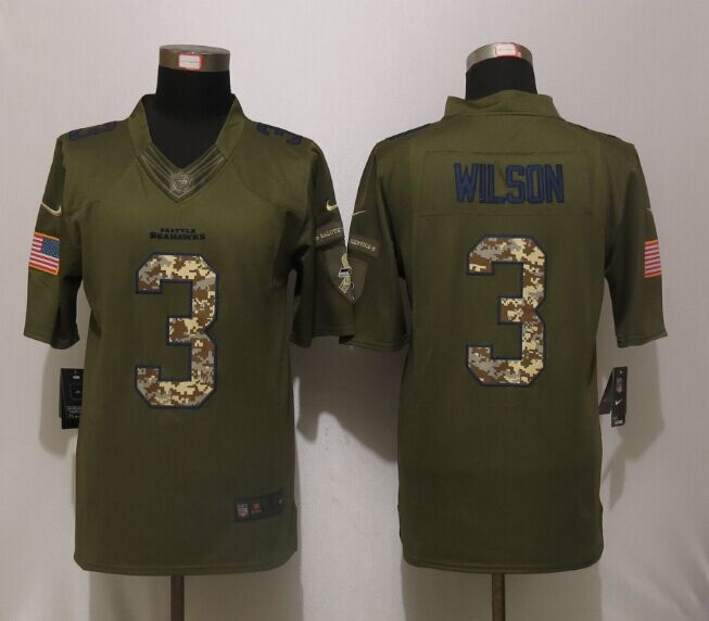 Seattle Seahawks 3 Wilson Green Salute To Service New Nike Limited Jersey