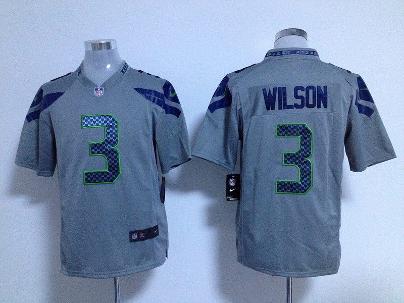 Seattle Seahawks 3 Wilson Grey Game nike jerseys