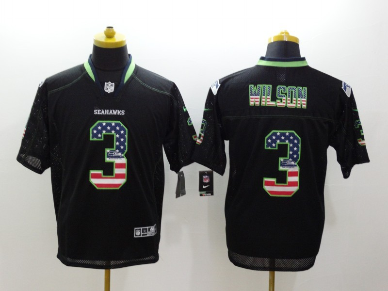 Seattle Seahawks 3 Wilson USA Flag Fashion Black Nike Elite Jerseys.