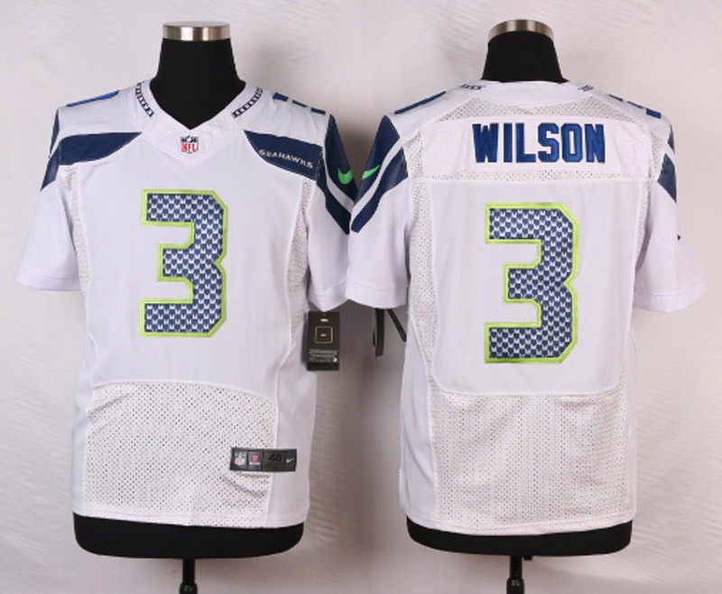 NFL Customize Seattle Seahawks 3 Wilson White Men Nike Elite Jerseys
