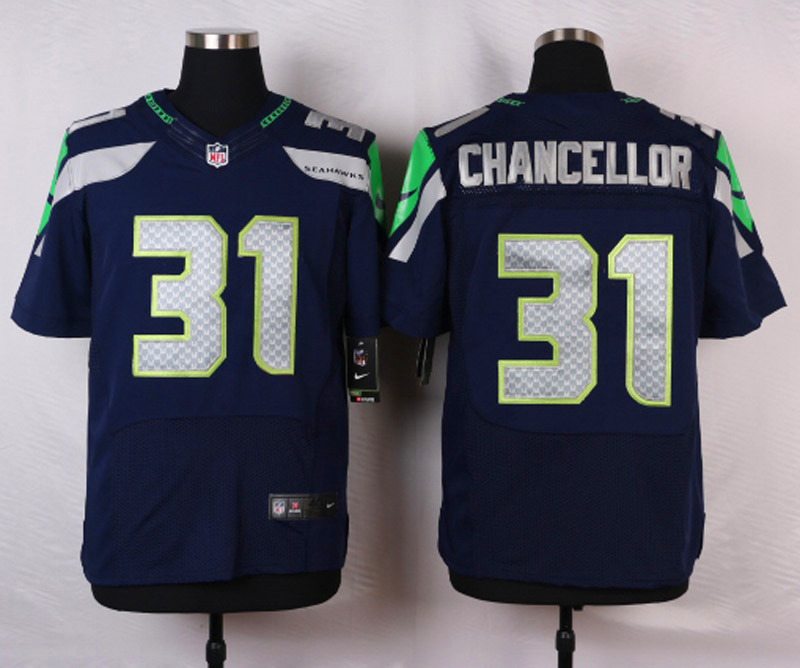 NFL Customize Seattle Seahawks 31 Chancellor Blue Men Nike Elite Jerseys