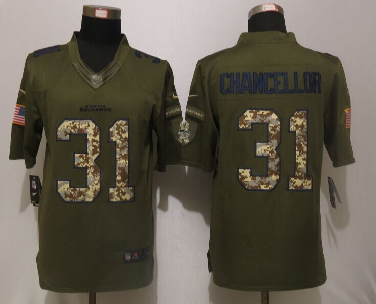 Seattle Seahawks 31 Chancellor Green Salute To Service New Nike Limited Jersey