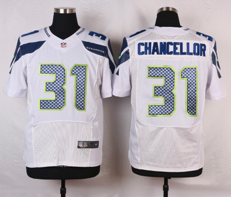 NFL Customize Seattle Seahawks 31 Chancellor White Men Nike Elite Jerseys