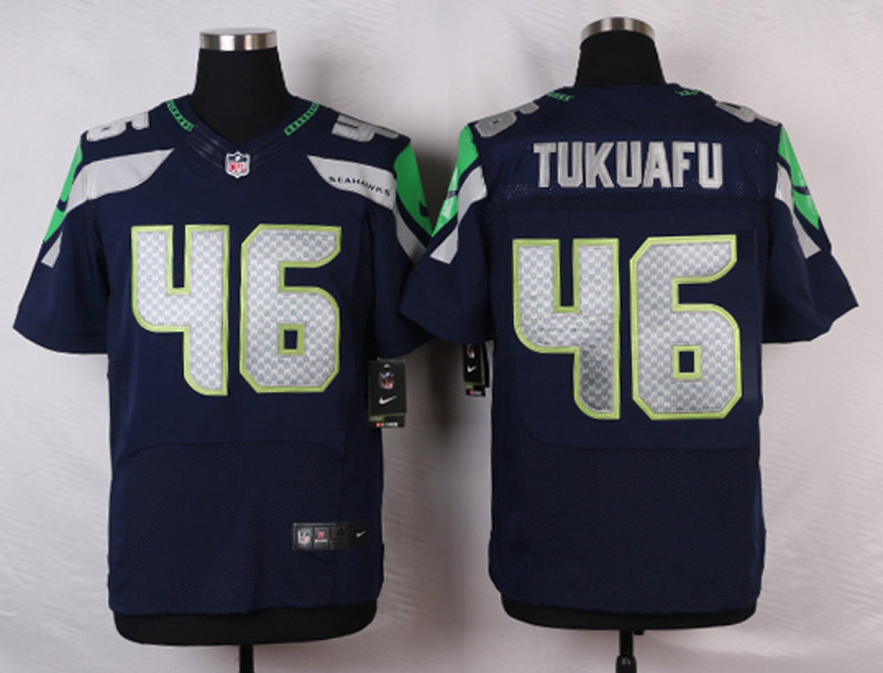 NFL Customize Seattle Seahawks 46 Tukuafu Blue Men Nike Elite Jerseys
