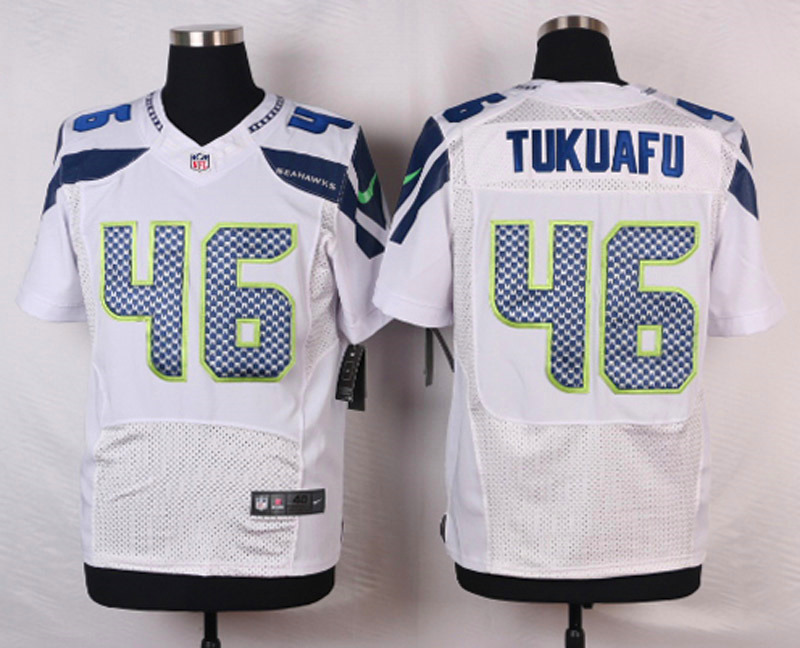 NFL Customize Seattle Seahawks 46 Tukuafu White Men Nike Elite Jerseys