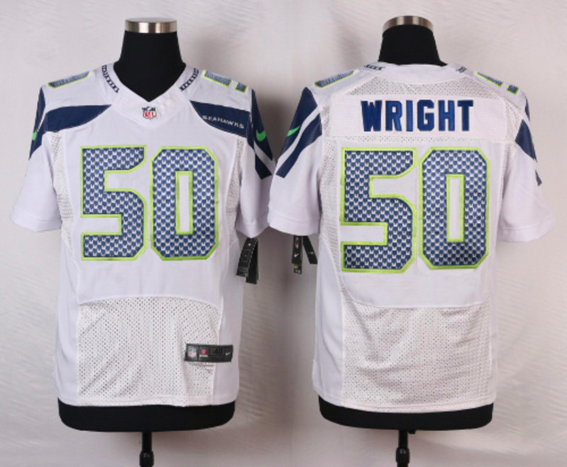 NFL Customize Seattle Seahawks 50 Wright White Men Nike Elite Jerseys
