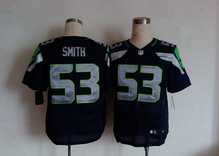 Seattle Seahawks 53 smith blue Nike Elite Jersey