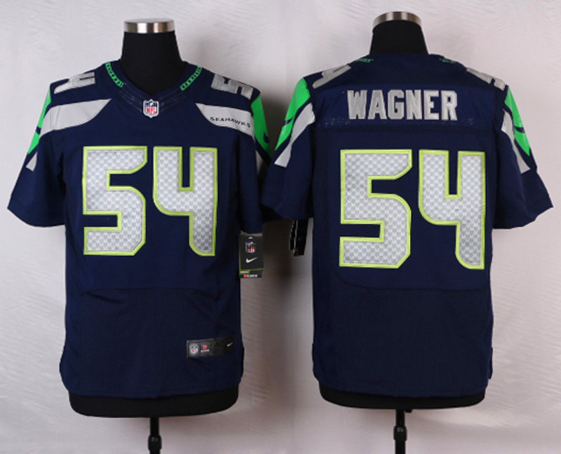 NFL Customize Seattle Seahawks 54 Wagner Blue Men Nike Elite Jerseys