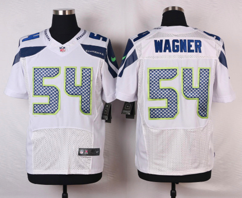 NFL Customize Seattle Seahawks 54 Wagner White Men Nike Elite Jerseys