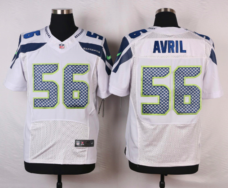 NFL Customize Seattle Seahawks 56 Avril White Men Nike Elite Jerseys