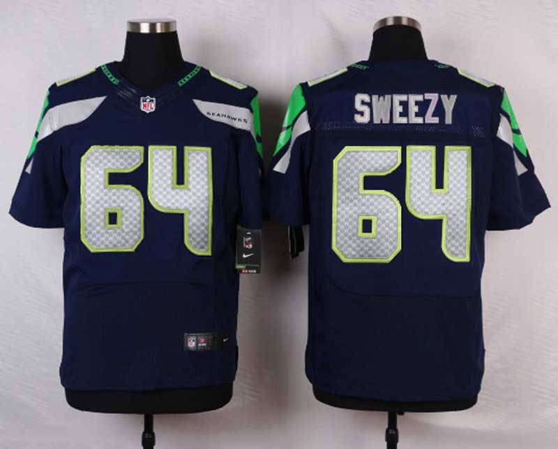 NFL Customize Seattle Seahawks 64 Sweezy Blue Men Nike Elite Jerseys