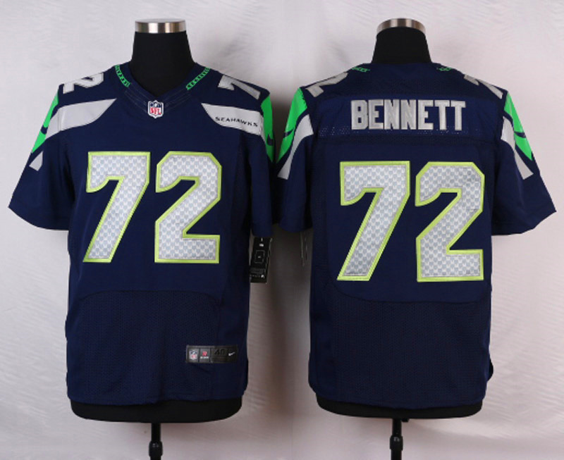 NFL Customize Seattle Seahawks 72 Bennett Blue Men Nike Elite Jerseys