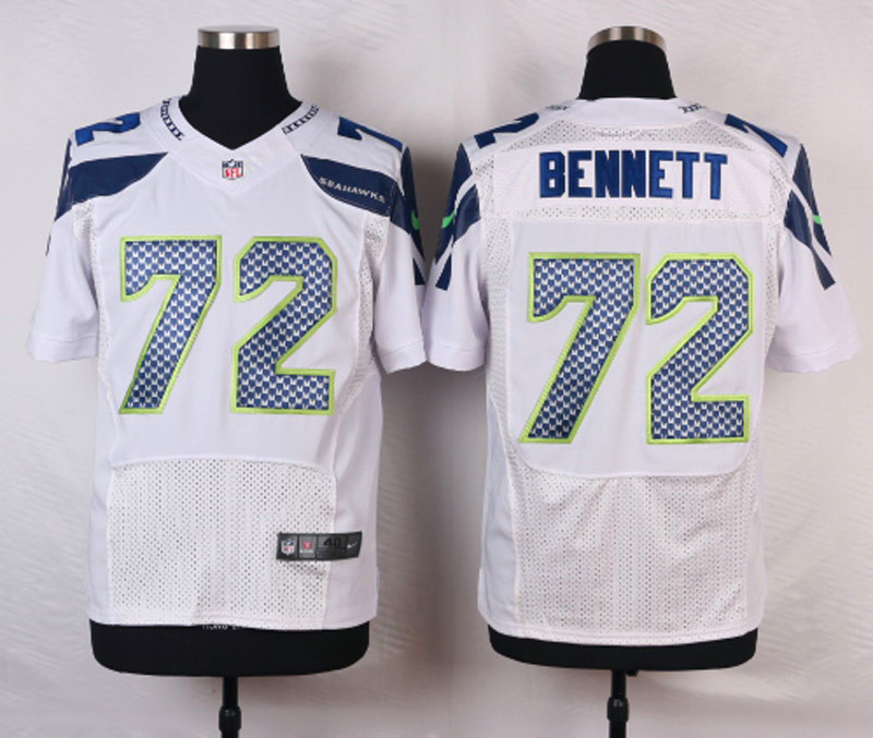 NFL Customize Seattle Seahawks 72 Bennett White Men Nike Elite Jerseys
