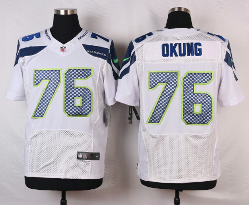NFL Customize Seattle Seahawks 76 Okung White Men Nike Elite Jerseys
