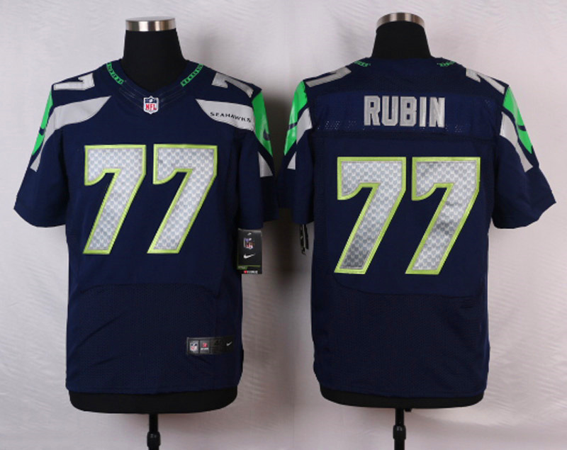 NFL Customize Seattle Seahawks 77 Rubin Blue Men Nike Elite Jerseys