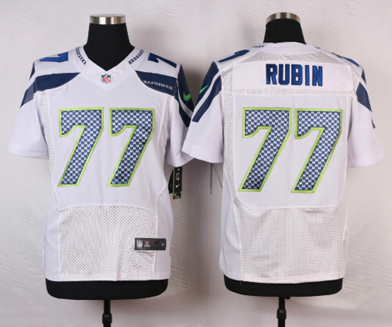 NFL Customize Seattle Seahawks 77 Rubin White Men Nike Elite Jerseys