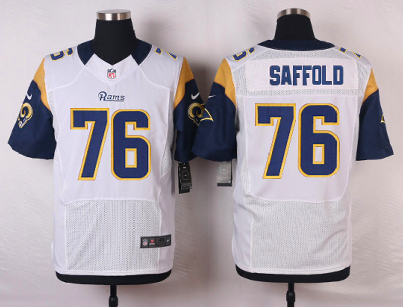 NFL Customize St. Louis Rams 76 Saffold White Men Nike Elite Jerseys