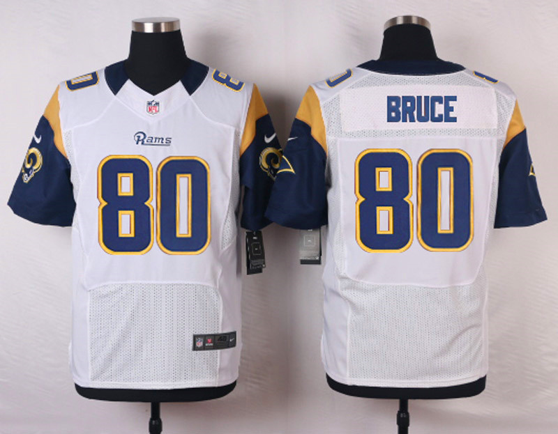 NFL Customize St. Louis Rams 80 Bruce White Men Nike Elite Jerseys