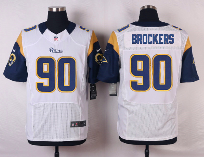 NFL Customize St. Louis Rams 90 Brockers White Men Nike Elite Jerseys
