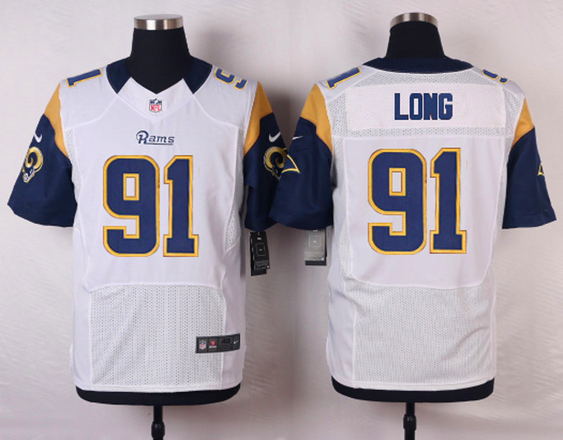 NFL Customize St. Louis Rams 91 Long White Men Nike Elite Jerseys