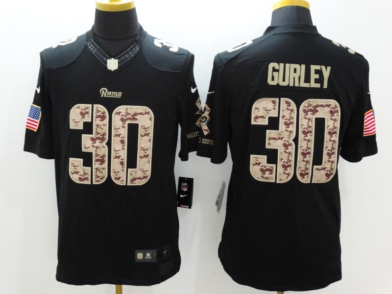 St.Louis Rams 30 Gurley Black Nike Salute TO Service Jerseys