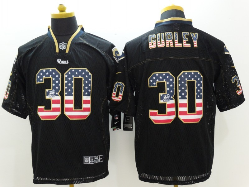St.Louis Rams 30 Gurley USA Flag Fashion Black Nike Elite Jerseys