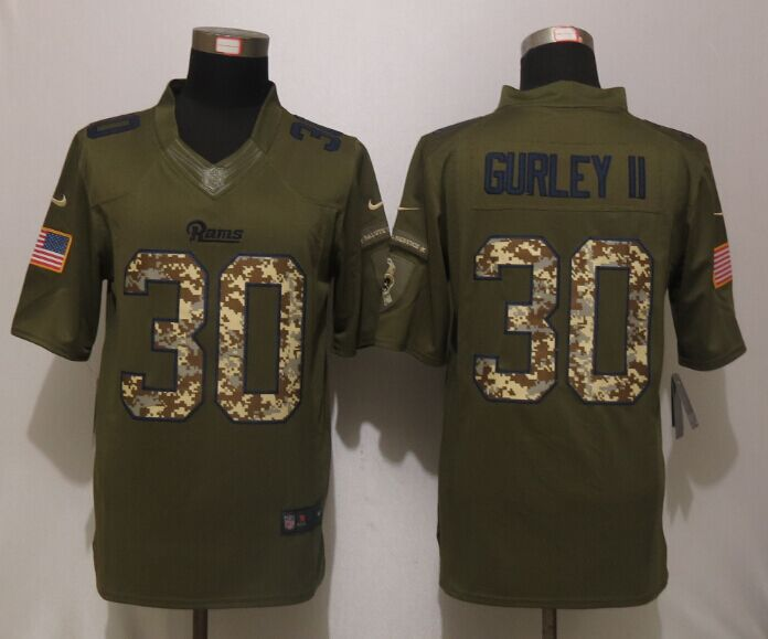 St.Louis Rams 30 Gurley ii Green Salute To Service New Nike Limited Jersey.
