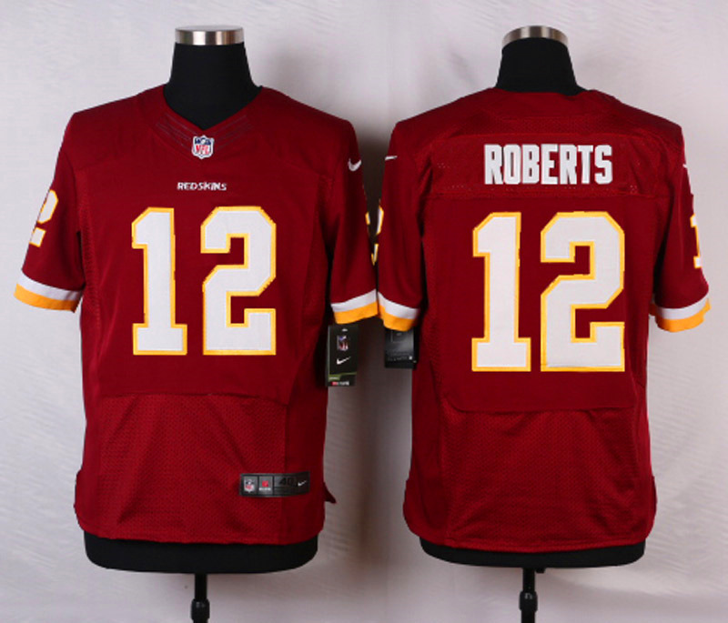 NFL Customize Washington Red 12 Roberts Red Men Nike Elite Jerseys
