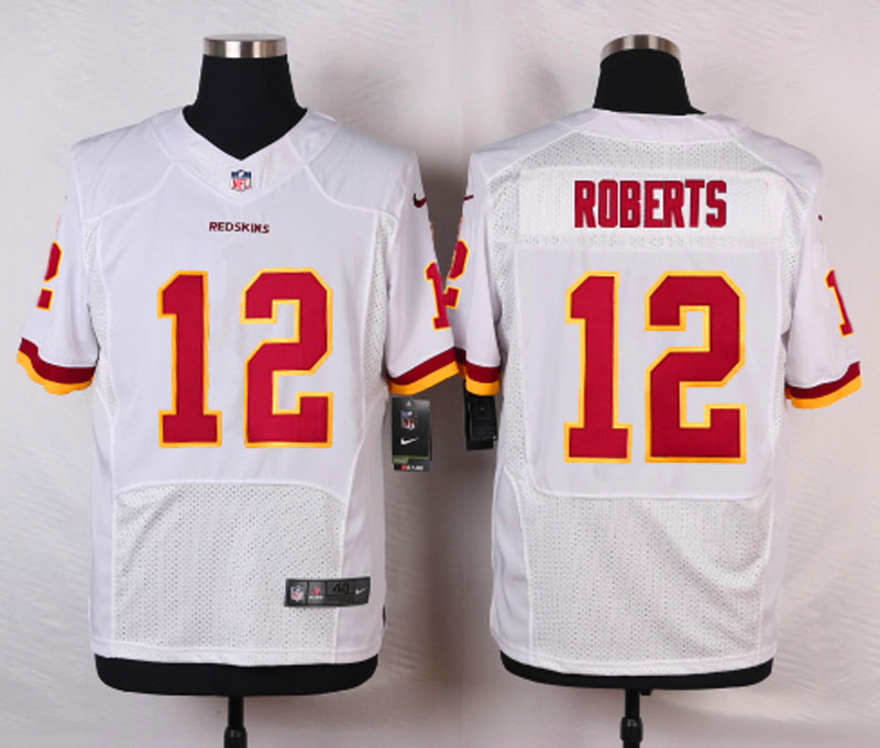 NFL Customize Washington Red 12 Roberts White Men Nike Elite Jerseys