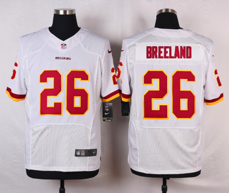 NFL Customize Washington Red 26 Breeland White Men Nike Elite Jerseys