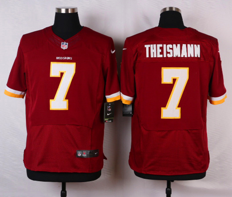 NFL Customize Washington Red 7 Theismann Red Men Nike Elite Jerseys