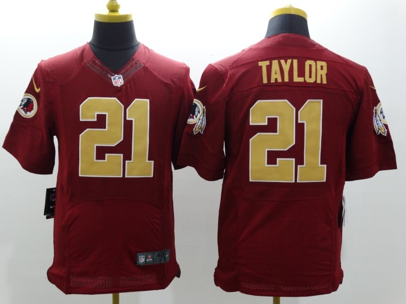 Washington Redskins 21 Taylor Red With Gold Nike Elite Throwback Jersey