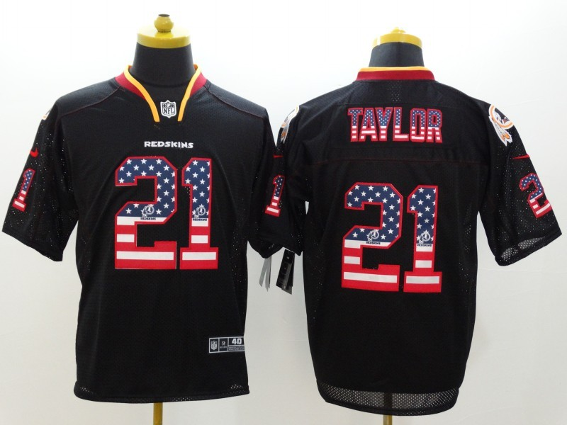 Washington Redskins 21 Taylor USA Flag Fashion Black Nike Elite Jerseys