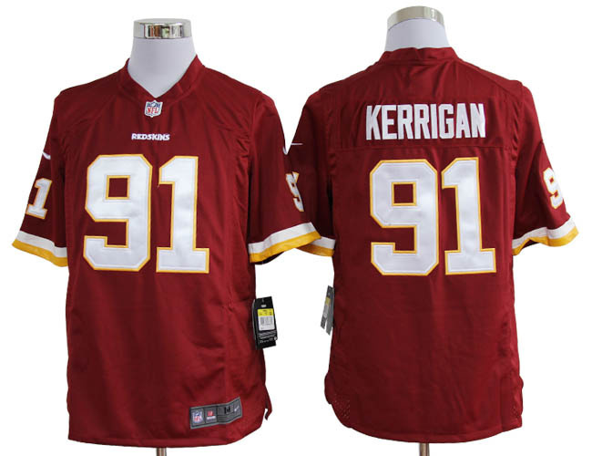 Washington Redskins 91 Kerrigan Red White Nike Game Jerseys