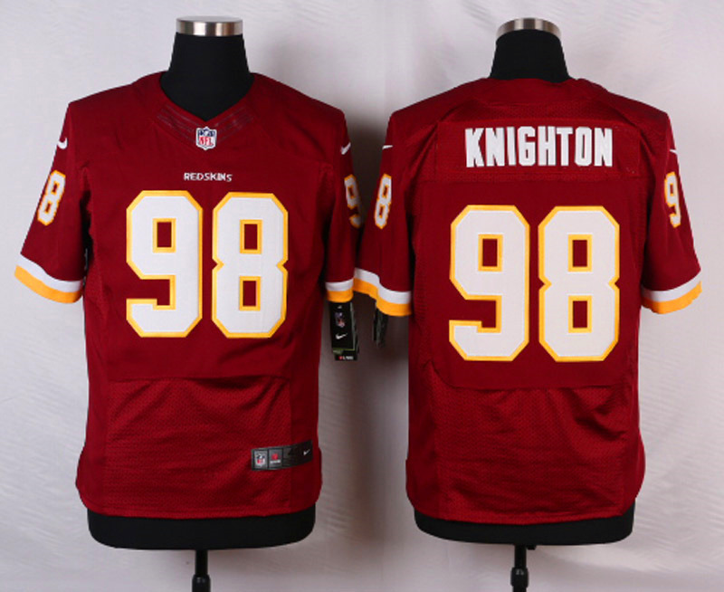 NFL Customize Washington Redskins 98 Knighton Red Men Nike Elite Jerseys