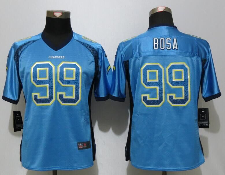 Women NEW Nike Los Angeles Chargers 99 Bosa Drift Fashion Blue Elite Jerseys