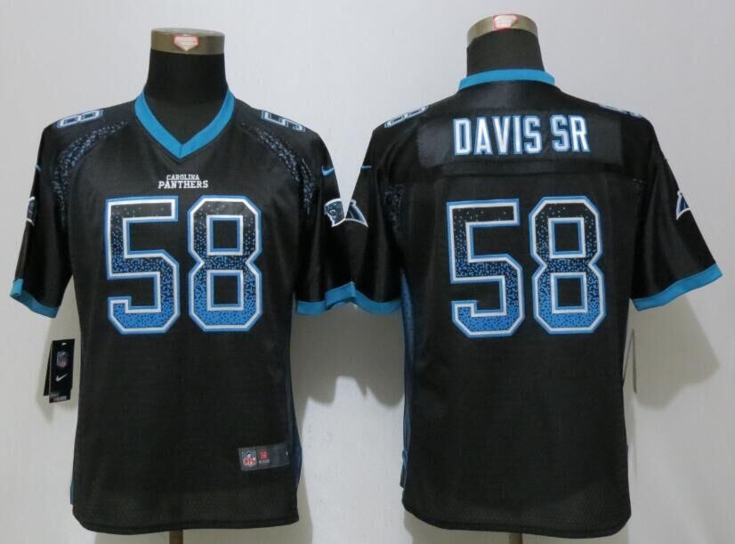 Women NEW Nike Carolina Panthers 58 Davis sr Drift Fashion Black Elite Jerseys