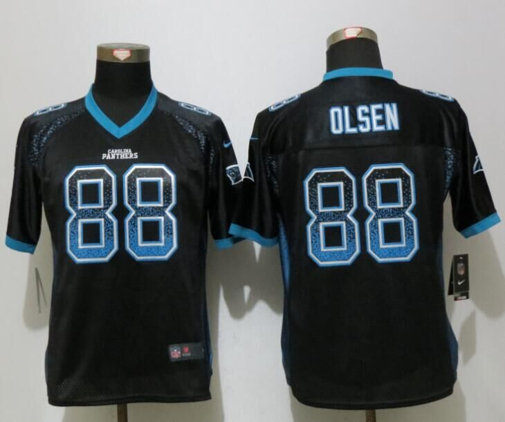 Women NEW Nike Carolina Panthers 88 Olsen Drift Fashion Black Elite Jerseys