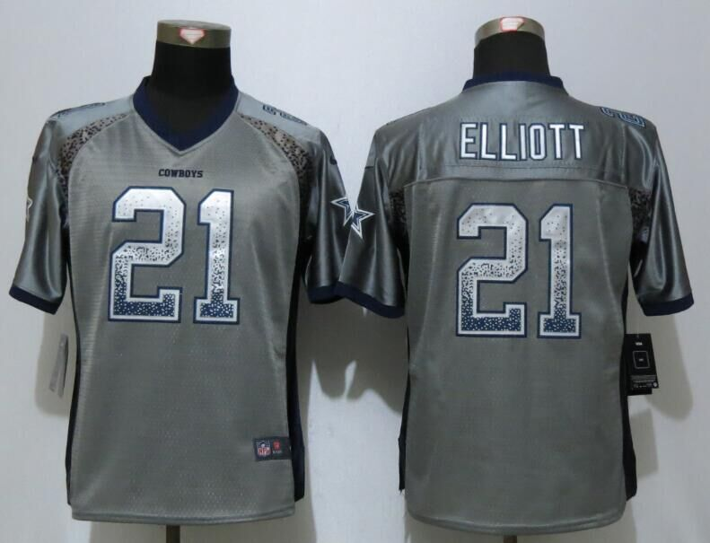 Women NEW Nike Dallas cowboys 21 Elliott Drift Fashion Grey Elite Jerseys